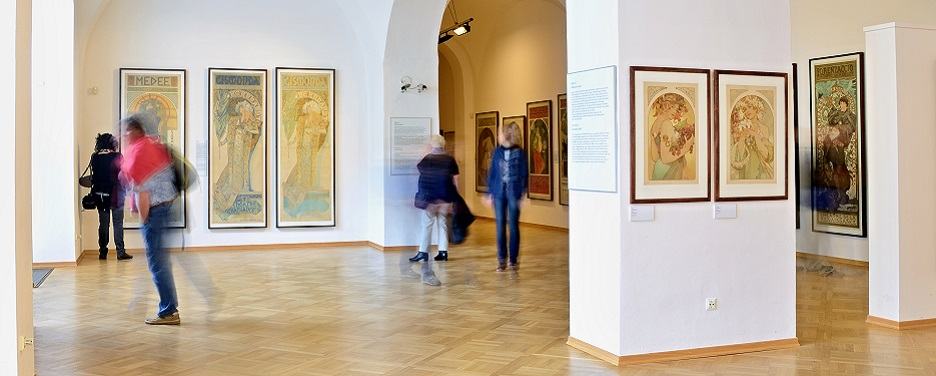 Installation view of one of the rooms in the Mucha Museum