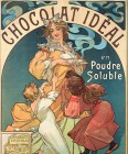 A little boy in his pyjamas and a little girl in a red dress pull at a woman holding 3 cups of steaming hot chocolate. The words 'Chocolat idéal en poudre soluble' sit at the top of the poster.