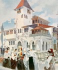 The Bosnia Pavilion in white and terracotta with men and women in traditional Bosnian costume in foreground