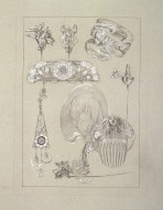 jewellery designs including a bracelet, a pendant, a comb, a hairpin and a fan