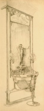 wall-mounted display cabinet with statuette and mirror