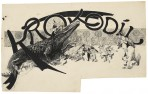 'Krokodil' in stylised font arching over a scene with a crocodile being prodded by men in top hats and smart atire with a boy and girl looking on