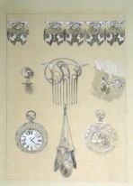 A butterfly decorative frieze motif, a comb, a cuff link, a pocket watch and several pendants