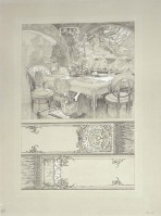 Top half: an Art Nouveau interior with decorative designs on the walls and a table and chairs with a table cloth and floral centre piece; bottom half: 2 parts of a design for the table cloth