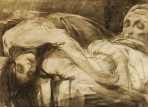 A dead woman slumps over the body of a recling man in white
