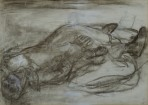 A rough sketch of two skeletal figures lying on the ground in each others arms