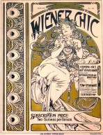 Woman in an ornate dress with flowing hair against a gold background with title 'Wiener Chic' and information on the content of the issue; decorative vertical border on the left with peacock feather motif
