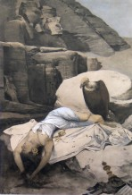 A vulture sits next to a female corpse slumped on a rock with Pharaohs carved in the rock beyond
