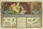 A horizontal design with an image of a woman with dark hair leaning on a hammer and surrounded by tools and an industrial motif in the top half of the composition and three panels in the bottom half with dates in the middle and superimposed drawings of metal structures on either side