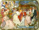 A society party scene amid decorative elements with the title of the play at to the top right of the centre; in the top left a group of children gather around a puppet show; in the top right a blond female figure slumps in front of a dark tree-lined horizon;