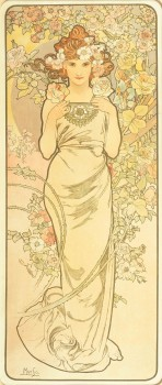 A full length female figure with a white dress and auburn hair decorated with roses is framed by pink, white and yellow roses