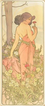 A full-length female figure with dark hair and a shoulderless pink dress stands side-on with her head turned towards the viewer; in her right hand she holds a carnation and she leans her left hand on the roots of a tree behind; pink, white and yellow carnations grow at her feet