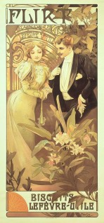 An elegant couple in evening wear stand in a glasshouse surrounded by plants with 'Lefèvre-Utile' in the ironwork behind; the text 'Flirt' features at the top of the poster and 'Biscuits Lefèvre-Utile' at the bottom