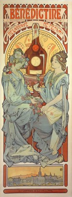 Two women with pale robes, one with flowers in her hair and the other with an ornate headband, sit either side of a bottle of Bénédictine liquor; the bottle sits on a pedestal and is framed by a decorative halo; the text 'Bénédictine de l'Abbaye de Fécamp' sits at the top of the poster