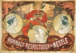 Three circles with profiles of Queen Victoria at different ages and a blond figure behind with red robes holding a crown to a backdrop of smoking factory chimneys and ship outlines, with the text 'Hommage Respectueux de Nestlé' in a banner at the bottom
