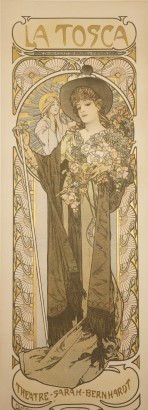Woman in a brown hat and gown holding a bunch of flowers and a cane framed with circular decorative elements
