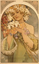 A woman with lilies in her hair, bare shoulders and a green dress with lace borders holds a large bouquet of flowers