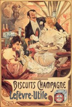 Two women and a man dressed in elegent evening wear sit drinking champagne with figures dancing in the background. The words 'Biscuits Champagne Lefèvre-Utile' feature at the bottom of the poster alongside a box of LU biscuits.