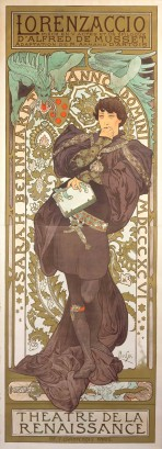 A full-length Bernhardt leans against a curved niche decorated with a foliage pattern. She has short dark hair and wears a black tunic, black stockings and a long black cape, with a dagger hanging from her belt and a book in her hand. A green dragon climbs from behind the niche. The words 'Lorenzaccio, Pièce en V actes et un épilogue d'Alfred de Musset, Adaptation de M. Armand d'Artois' feature at the top of the poster, and 'Théâtre de la Renaissance' at the bottom.