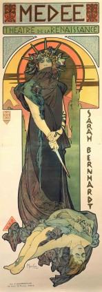 "A full-length Bernhardt stands wide-eyed and tense against a stylised sunset background, with a bloody dagger in her hands and a female body at her feet. The words ""Medée, Théâtre de la Renaissance"" feature at the top of the poster in a mosaic-syle frieze and the words ""Sarah Bernhardt"" run down the right hand side of the poster."