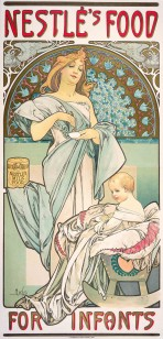 A woman with golden hair wrapped in pale blue fabric and standing in front of an ornate gold and blue mosaic niche holds a small bowl with a spoon above a baby sitting in a crib below. The words 'Nestlé's Food' sit at the top of the poster and 'For Infants' at the bottom.