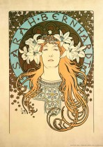 The head and shoulders of Sarah Bernhardt wearing lilies in her fair hair and an embroidered tunic, framed by a pale blue halo inscribed with her name and surrounded by golden stars.