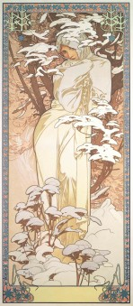 A woman wrapped in a white gown is surrounded by snow-covered branches