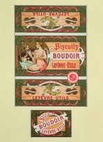 A sheet of four panels to be stuck on a biscuit tin. On the principal panel, an elegantly dressed man and woman sit at a table drinking champagne and eating biscuits. All panels have a decorative border in greens, reds and pinks.