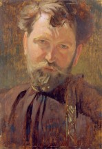A head and shoulders self-portrait of Mucha in a brown shirt against a brown background