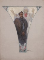A pendentive with a male figure with a mustache dressed in formal wear standing in front of a woman in folk dress holding her hands up in the air