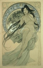 A naked woman with long dark hair touches the back of her neck with her hands as she perches on a large decorative halo