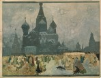 Crowds standing in small groups in front of St Basil's Cathedral