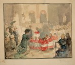 Sketch of a group of choirboys in red and white seen from behind with a congregation behind
