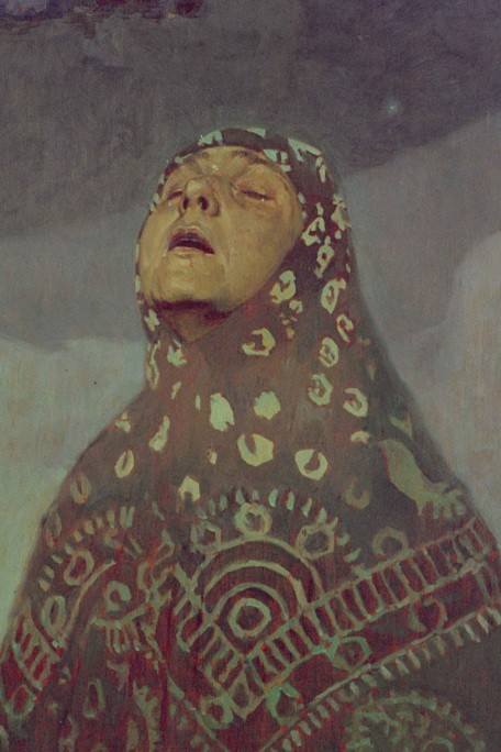 A close-up of a Russian peasant woman with her moonlit face looking up towards the sky