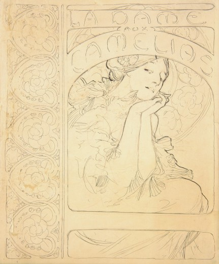 Rough sketch of front cover with decorative floral border on left and the text 'La Dame aux Camélias' above a woman clasping her hands together under her chin