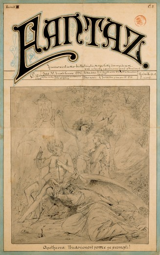 Front cover of a magazine with stylised title 'Fantaz' followed by hand-written text and a pen drawing of a classical narrative scene