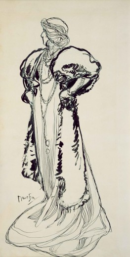 A full-length sketch of Bernhardt turning to her right dressed in a sinuous gown and a voluminous over-gown made from a different fabric