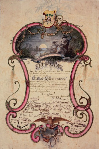 Decorative form with a couple against a moonlit landscape at the top, text in the middle, and approximately two dozen signatures at the bottom with a motif composed of different musical instruments