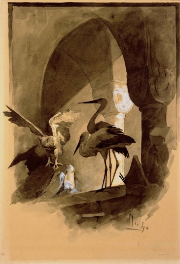 Three storks, one with its wings spread, under an arcade