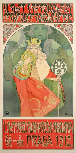 A young girl in a red cloak wearing a crown holds a staff in her left hand and 7 garlands in her right hand; behind her a green otherworldly figure holds a falcon