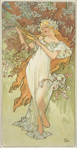 A woman with a delicate white robe and long blond hair decorated with a white floral wreath holds a lyre and stands under a blossoming tree