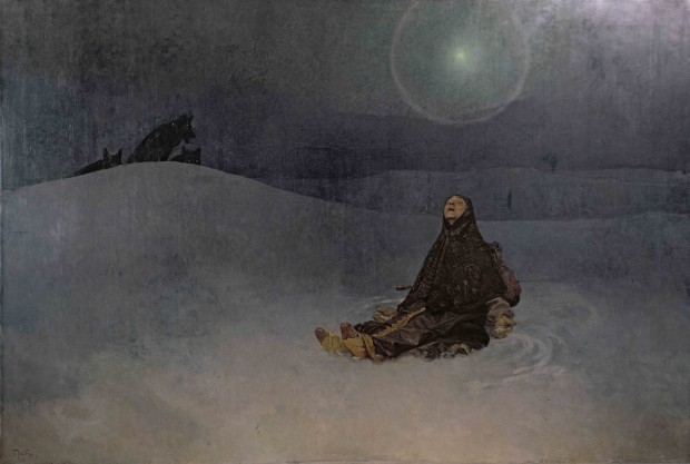 A peasant woman in a dark headdress sits with her head to the sky in a gesture of resignation; the dark colours of her barren, moonlit surroundings merge into the night's sky; 3 wolves look on from the horizon