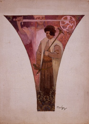 A pendentive with a male figure in work cloths holding a hammer standing in front of a woman in folk dress brandishing a sword in her right hand and the crest of Czechoslovakia in her left hand