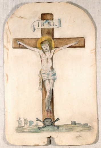 Drawing of Christ on the cross with the initials I.N.R.L. at the top of the crucifix, a skull and crossbones at the bottom, and nuns and gravestones in the distance