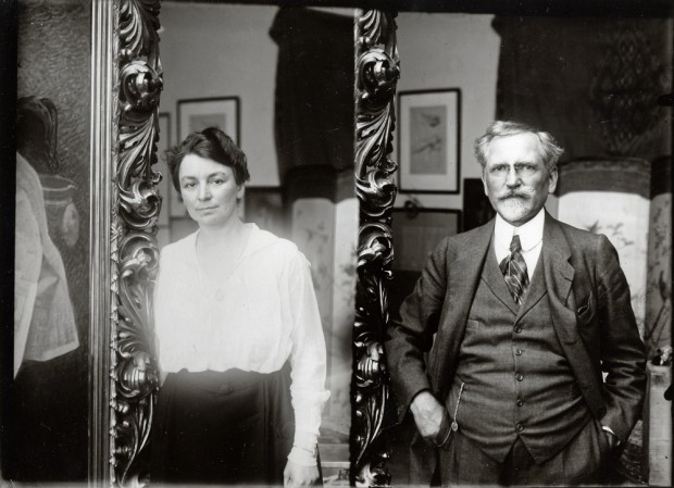 Photomontage of Mucha stood to the right of a mirror with his wife Maruška's reflection