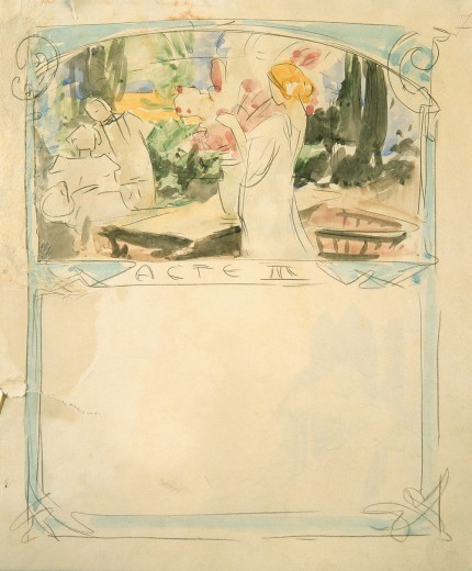 Sketched illustration and blue border with outline of a blond figure at centre with a standing and seated figure to left and trees in background and 'Acte III' below