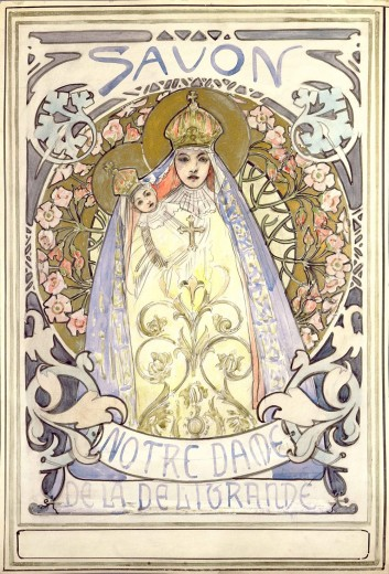 Stylised image of the Virgin Mary holding a baby, both wearing ornate gowns and crowns with halos encirlced by a decorative circular backdrop with the text 'Savon' at the top of the composition and 'Notre Dame de la Deliorande' at the bottom